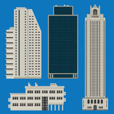 Buildings set with skyscrapers. Various tall buildings including hotels and business centers Stock Photos