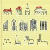Buildings. Set of various buildings on notepaper Stock Image