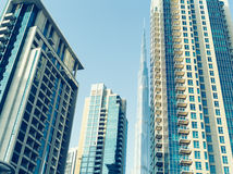 Buildings on Sheik Zayed road at Dubai Royalty Free Stock Photos