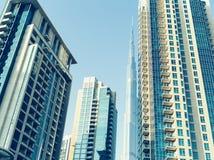 Buildings on Sheik Zayed road at Dubai. View of Dubai skyscraper and Burj Khalifa Royalty Free Stock Photos