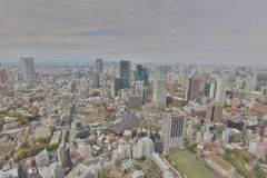Buildings and shops in a rural part of Tokyo. Aerial view of Tokyo with the city highway. Japan 2016 Stock Photos