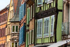 Buildings with shutters stock image