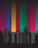 Buildings silhouette beautiful bright colorful citylights Royalty Free Stock Image