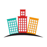 Buildings silhouette isolated icon Royalty Free Stock Images