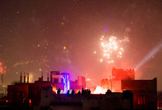 Buildings silhouetted against fireworks in Jaipur Royalty Free Stock Images