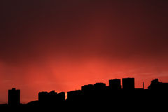 Buildings silhouettes. View at sunset Stock Photos