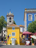 Buildings of Sintra, Portugal. Buildings of traditional Portuguese style on the Republic Square in the heart of old city of Sintra, Portugal. It is an Stock Photos