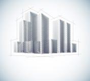 Buildings in sketch Stock Photos