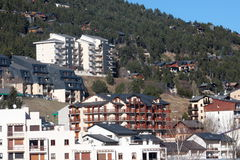 Buildings in ski resort of Les Angles in Pyrenees orientales Royalty Free Stock Images