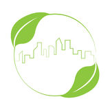 Buildings skyline logo sustainable green design. Logo vector of building skyline and leaves. Sustainable green design concept. Illustration isolated on white Stock Photos
