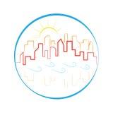 Buildings skyline logo waves sun emblem Stock Photography