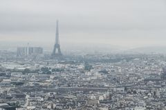 Buildings and skyline of Paris, France with Eiffel Tower, from top of the Sacre-coeur in Montmartre royalty free stock photography