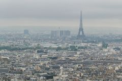 Buildings and skyline of Paris, France with Eiffel Tower, from top of the Sacre-coeur in Montmartre stock image