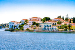 Buildings of Spetses island. On Saronic gulf near Athens. Ideal travel destination for quiet vacations . Greece Royalty Free Stock Images