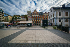 Buildings and square in Slussen, in Södermalm, Stockholm, Swede Royalty Free Stock Images