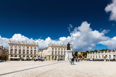 Buildings on the Stanislas place in Nancy the golden city. NANCY, FRANCE, AUGUST 05 2016. Buildings on the Stanislas place in Nancy the golden city Royalty Free Stock Photos