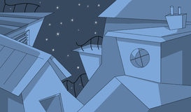 Buildings in the starry night. Digital illustration representing strange architecture buildings in a starry night Royalty Free Stock Image