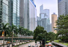 Buildings and street in center of Hongkong. View of street in Hongkong center area, as buildings, traffic and vehicle, shown as city view and transportation, and Stock Photos