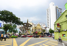 Buildings with the street in Kuala Lumpur, Malaysia.  Royalty Free Stock Photography