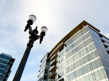 Buildings and street lamps in the downtown of Portland.  Royalty Free Stock Photos
