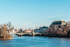 Buildings and Streets near Vltava River in Prague, Czech Republi Stock Photography