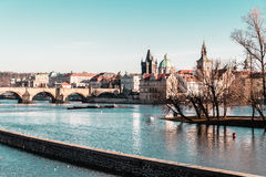 Buildings and Streets near Vltava River in Prague, Czech Republi Royalty Free Stock Images