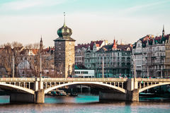 Buildings and Streets near Vltava River in Prague, Czech Republi Stock Image