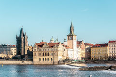 Buildings and Streets near Vltava River in Prague, Czech Republi Royalty Free Stock Photography