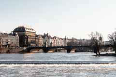 Buildings and Streets near Vltava River in Prague, Czech Republi Stock Photos