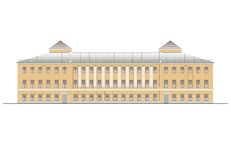 Buildings and structures of the early and mid twentieth century. Drawings of houses of classical architecture of the end of 18-19- Royalty Free Stock Photo