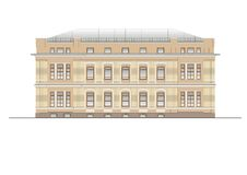Buildings and structures of the early and mid twentieth century. Drawings of houses of classical architecture of the end of. 18-19-20 century royalty free illustration