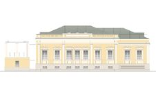 Buildings and structures of the early and mid twentieth century. Drawings of houses of classical architecture of the end of 18-19-20 century royalty free illustration