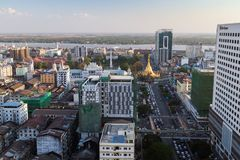 View of Yangon city in daylight from above Royalty Free Stock Image