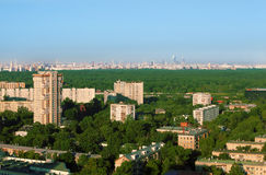 Buildings at sunny morning in district of Moscow Stock Images