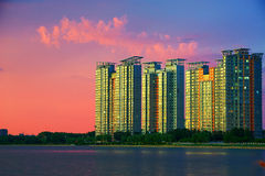 The buildings and sunset glow Royalty Free Stock Images