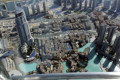 Buildings and super structures seen from Burj Khalifa. This is how these amazing structures are seen from the 124 the floor observational deck in Burj Khalifa in Stock Photo