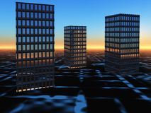 Buildings on Surreal Horizon Sunrise. An abstract background of buildings on a glowing grid sunrise horizon royalty free illustration
