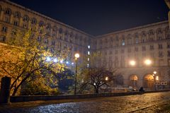 Buildings surrounding the rotunda of st George in the center of Sofia. royalty free stock photos