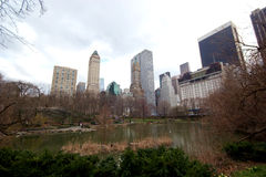 Buildings surroung The Pond, Central Park, New York Stock Image