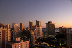 Buildings in suset. Buildings in sunset in Hawaii royalty free stock photography