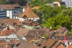 Buildings of the Swiss city of Solothurn - a summertime view from the tower of the famous St. Ursus cathedral. Buildings of the city of Solothurn - a summertime stock images