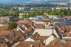 Buildings of the Swiss city of Solothurn - a summertime view from the tower of the famous St. Ursus cathedral. Buildings of the city of Solothurn - a summertime royalty free stock images