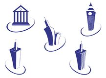 Buildings symbols Royalty Free Stock Photos