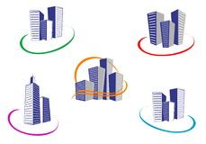 Buildings symbols Stock Images