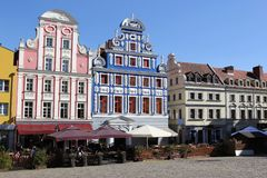 Buildings of Szczecin old town, west Poland, with renovated city market architecture. stock photos