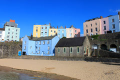 Buildings At Tenby Harbour. Colourful houses overlooking Tenby harbour and beach Royalty Free Stock Photo