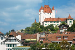 Buildings of Thun under cloudy sky Stock Photography