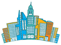 Buildings together in downtown or financial district. Cartoon illustration of different buildings together on busy district Stock Images