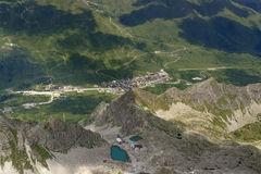 Buildings at Tonale pass aerial summer view, Italy Stock Image