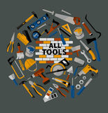 Buildings tools icons set. Stock Photos